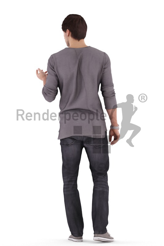 3d people casual, white 3d man walking and talking