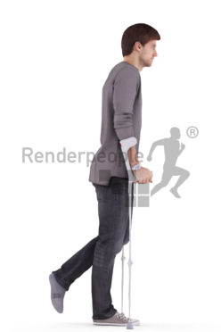 3d people casual, white 3d man walking with crutches