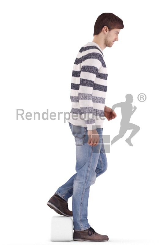 3d people casual, white 3d man walking downstairs