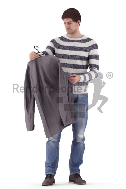 3d people casual, white 3d man standing and looking at a jacket