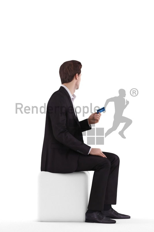 3d people business, white 3d man sitting paying with a credit card