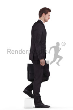 3d people business, white 3d man walking downstairs with a briefcase