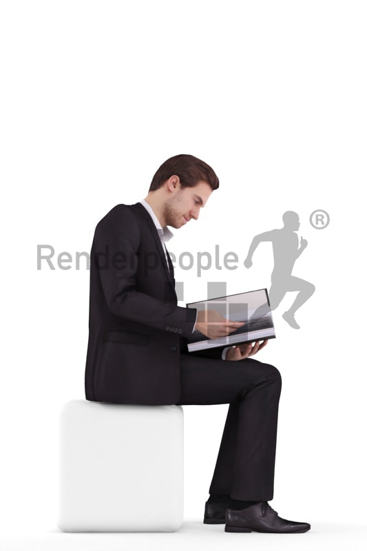3d people business, white 3d man sitting looking into a folder