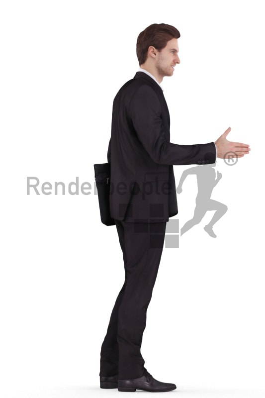 3d people business, white 3d man standing and shaking hands