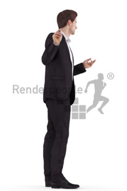 3d people business, white 3d man standing and writing on a board