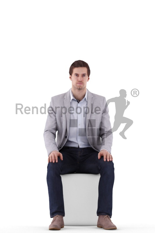 3d people business, white 3d man sitting