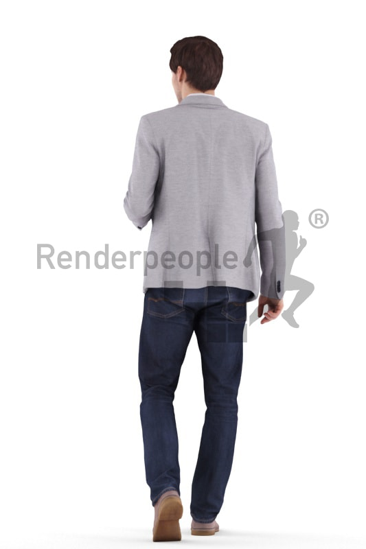 3d people business, white 3d man walking and talking