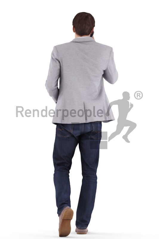 3d people business, white 3d man walking and calling with his mobile phone