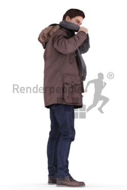 3d people outdoor, white 3d man standing and putting on his scarf