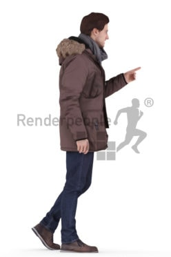 3d people outdoor, white 3d man walking and using an interface