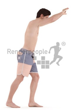 3d people swim, white 3d man jumping into the pool