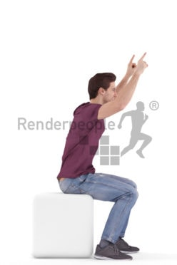 3d people casual, white 3d man sitting and cheering
