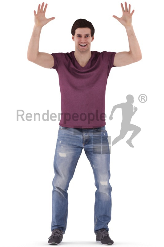 3d people casual, white 3d man standing and cheering