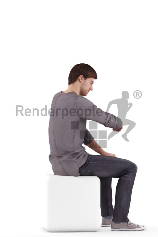 Posed 3D People model for renderings – european man casual look, checking the time
