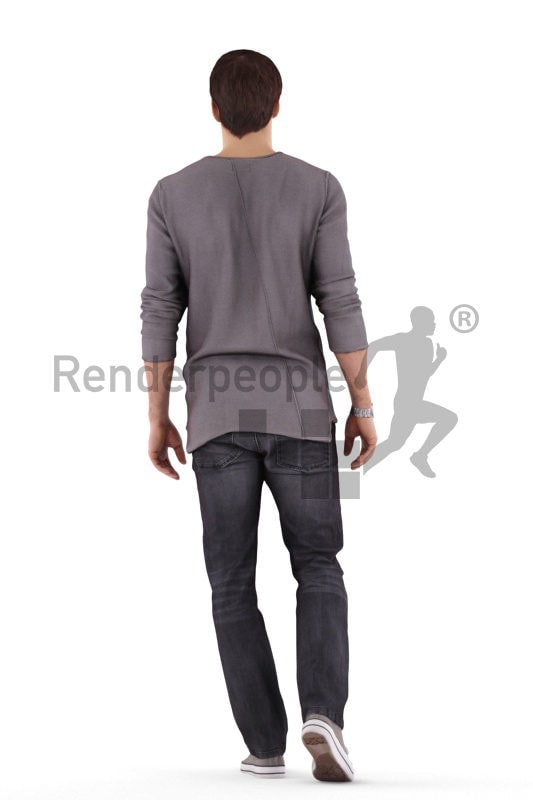 Realistic 3D People model by Renderpeople – european male in daily outfit, walking