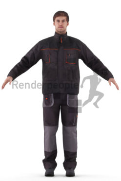 3d people construction, rigged man in A Pose