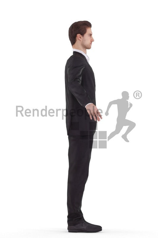 3d people business, white rigged man in A Pose