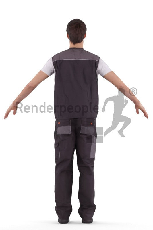 3d people worker, white rigged man in A Pose