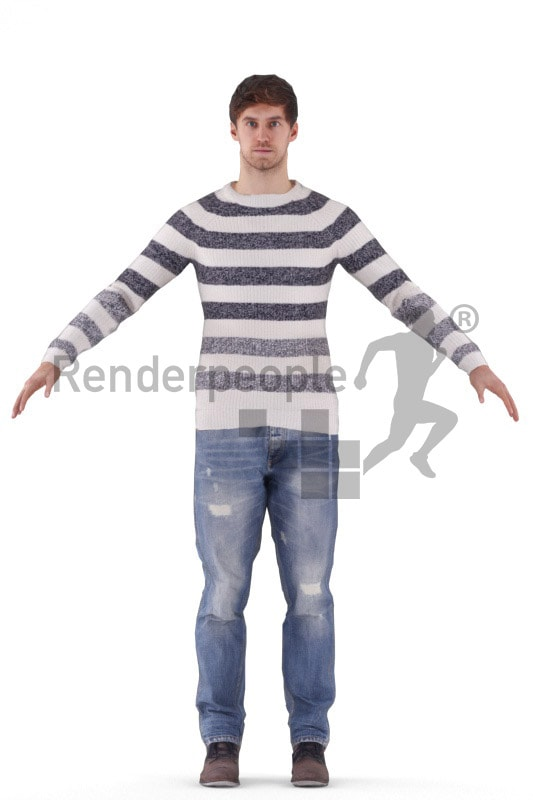 3d people casual, rigged man in A Pose