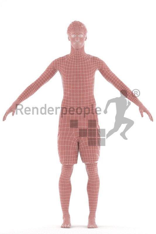 3d people swimming, rigged man in A Pose