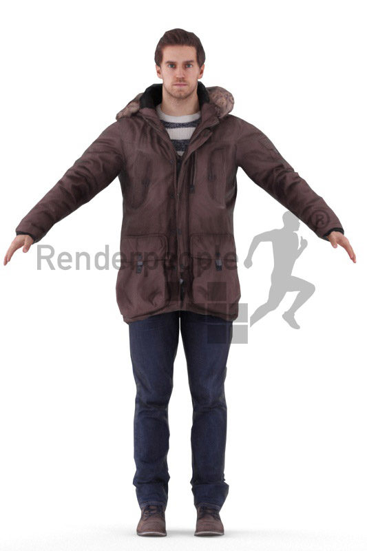 Rigged 3D People model for Maya and 3ds Max –european male, outdoor