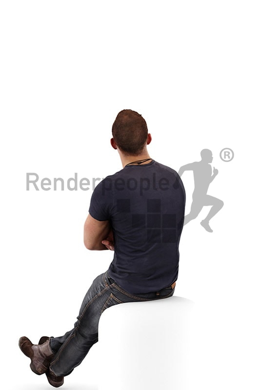 3d people casual, white 3d man sitting and looking up