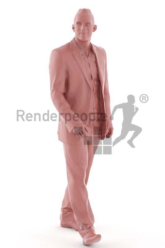 3d people business, white 3d man in suit walking