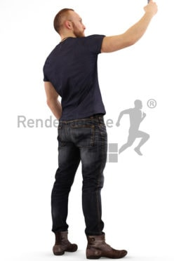 3d people casual, white 3d man taking a selfie