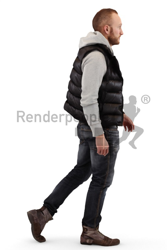 3d people casual, white 3d man walking
