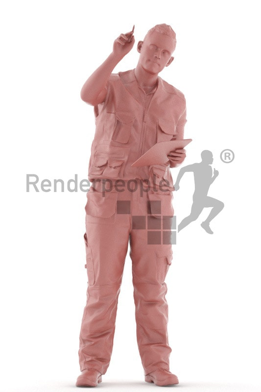3d people worker, white 3d man standing and pointing with a pen