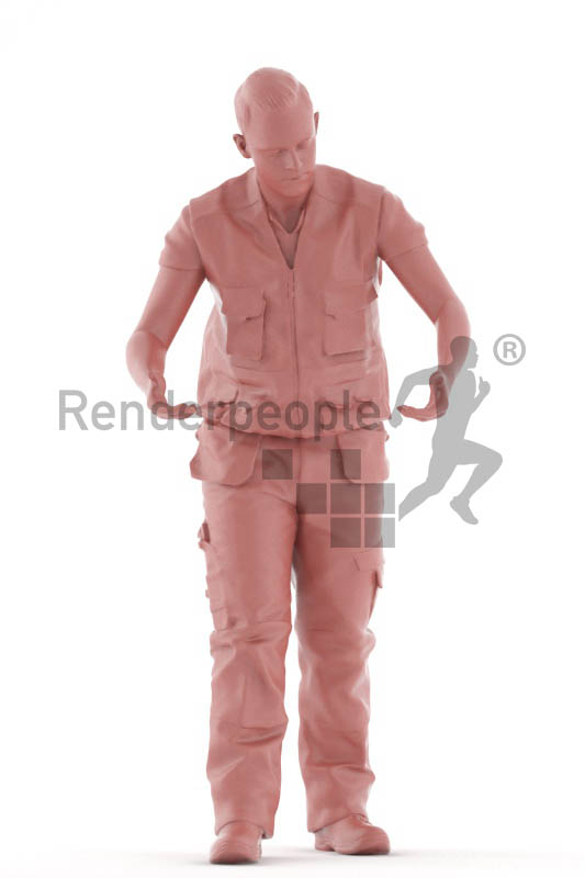 3d people worker, white 3d man standing lifting up a box