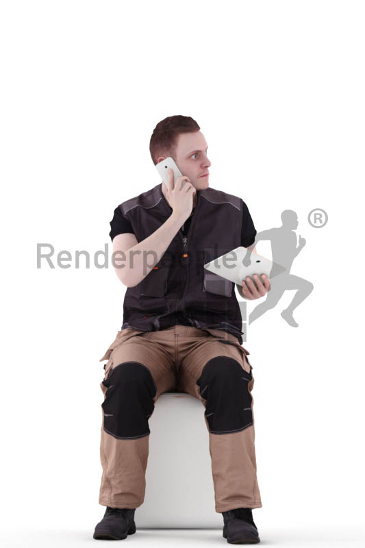 3d people worker, white 3d man sitting and calling someone