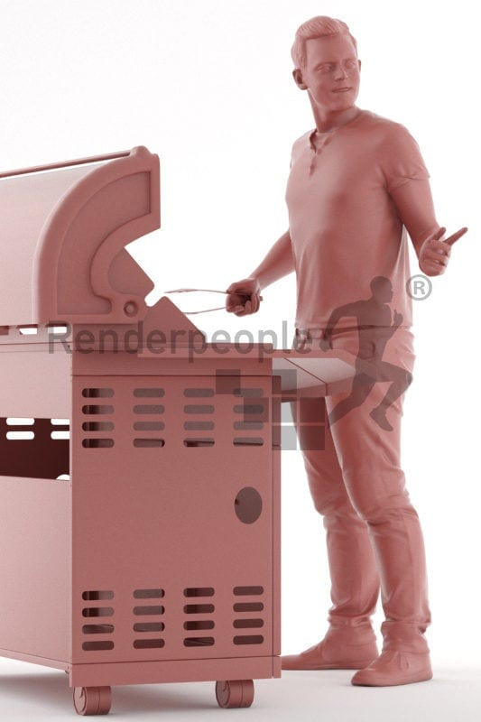 3d peopale casual, white 3d man grilling with bbq tong