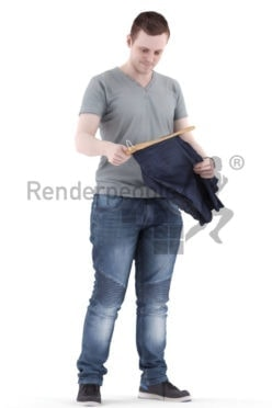 3d people casual, white 3d man standing and shopping clothes
