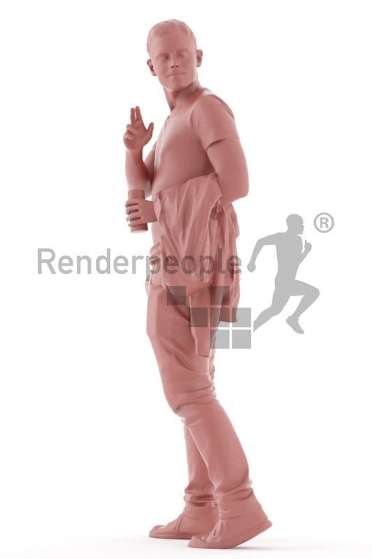 3d people casual, white 3d man walking and waving somebody