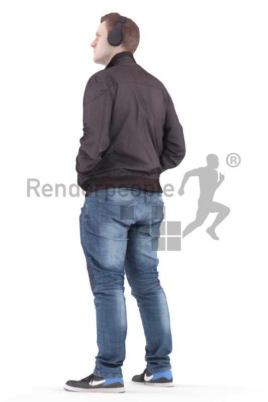 3d people casual, white 3d man standing and listening to music