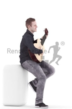 3d people event, white 3d man sitting and playing guitar