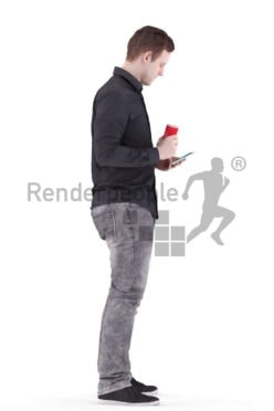 3d people casual, white 3d man standing and holding a soda bottle