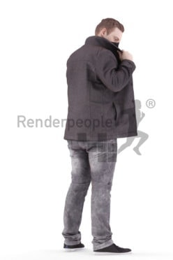 Posed 3D People model for visualization – european man, outdoor, wearing a jacket