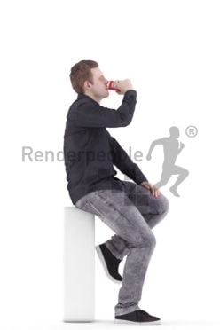 3d people event, white 3d man sitting drinking