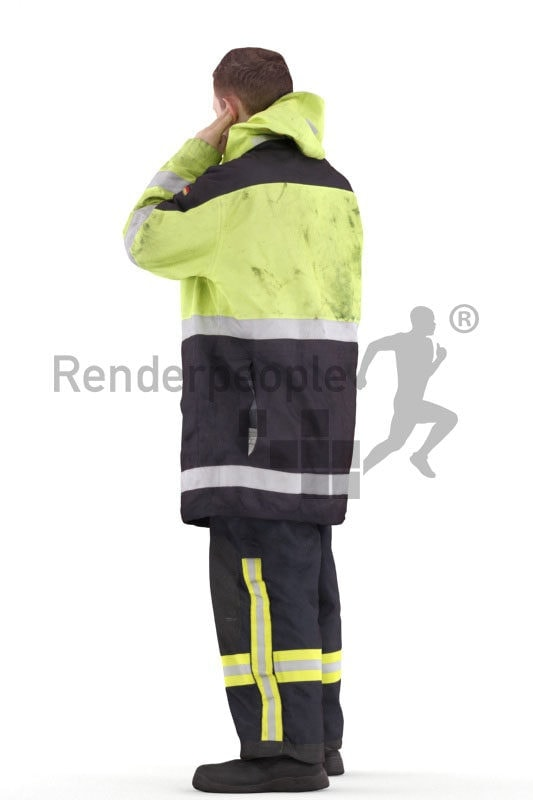 Scanned human 3D model by Renderpeople – fireworker, standing and calling