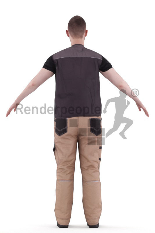 Rigged and retopologized 3D People model – white man in work wear