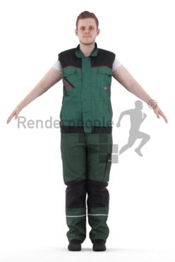 Rigged human 3D model by Renderpeople – european man in workwear