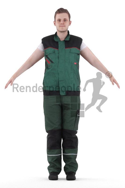 Rigged human 3D model by Renderpeople – european man in workwear