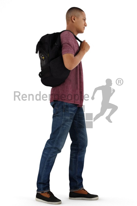 3d people casual, black 3d man carrying a backpack