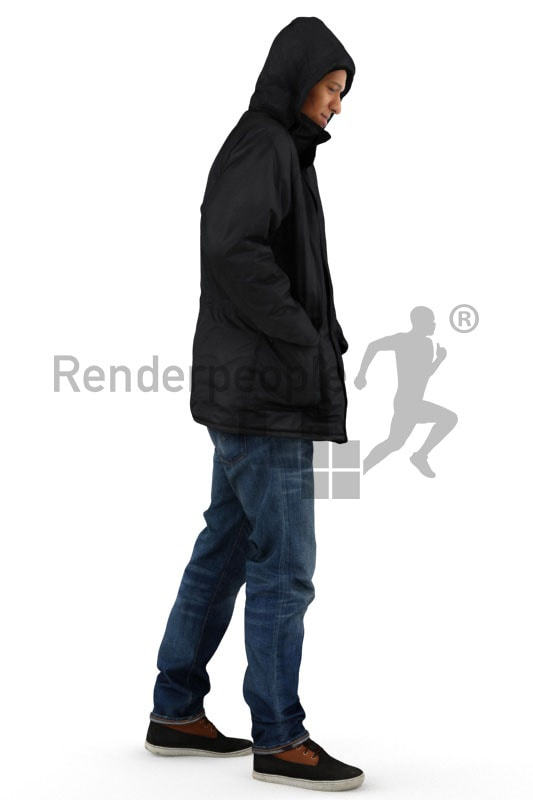 3d people outdoor, black 3d man wearing a winter jacket