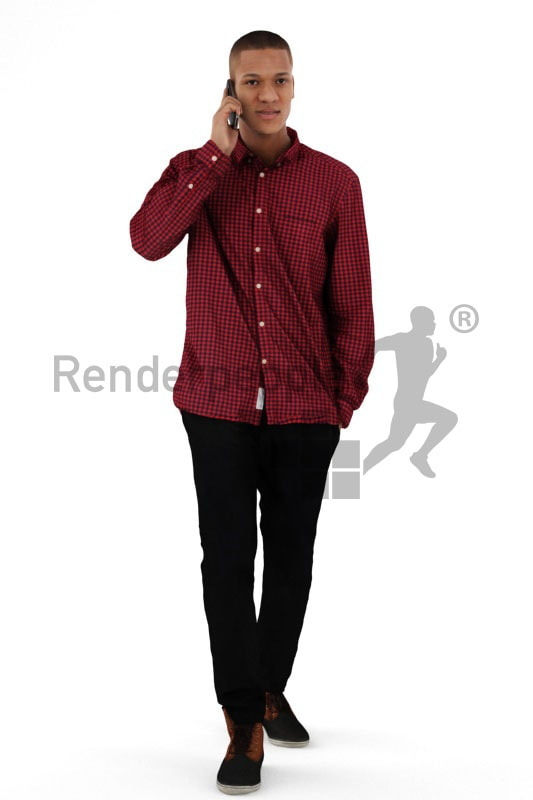 3d people casual, black 3d man walking and talking on the phone