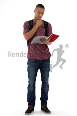 3d people casual, black 3d man reading a book