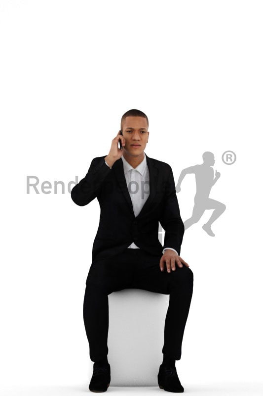 3d people business, black 3d man sitting and calling