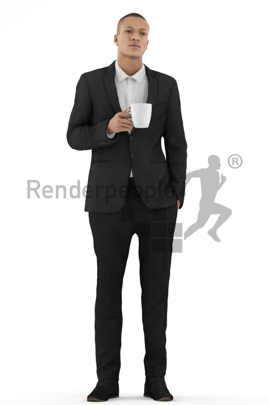 3d people business, black 3d man standing and holding a cup